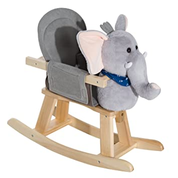HOMCOM Animal Rocking Ride On Toy Chair For Kids With 32 Songs (Elephant)