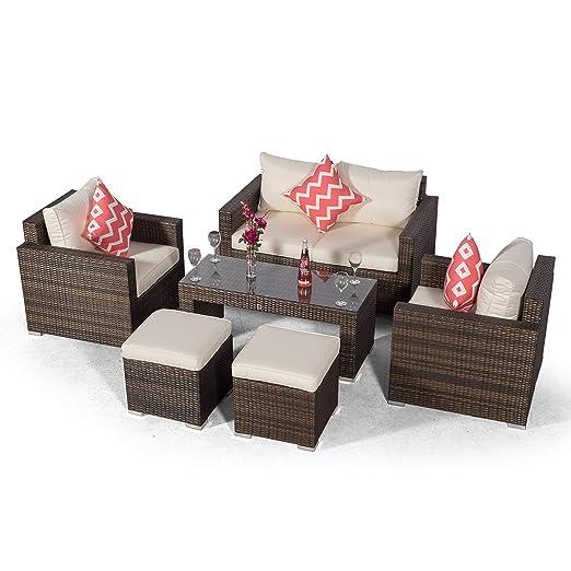 Giardino Sydney Juego de sofá de 4 plazas de ratán con 2 ...