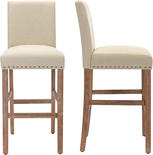 THKSBOUGHT Set of 2 Bar Stools 29 Inch Bar Chairs with Nail Head in Solid Wood Legs Beige