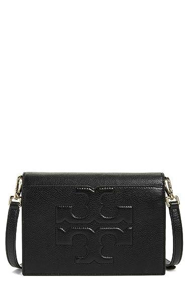 00561e67cf7b Amazon.com  Tory Burch Bombe T Combo Leather Cross Body Bag Women s Leather  Handbag (Black)  Shoes
