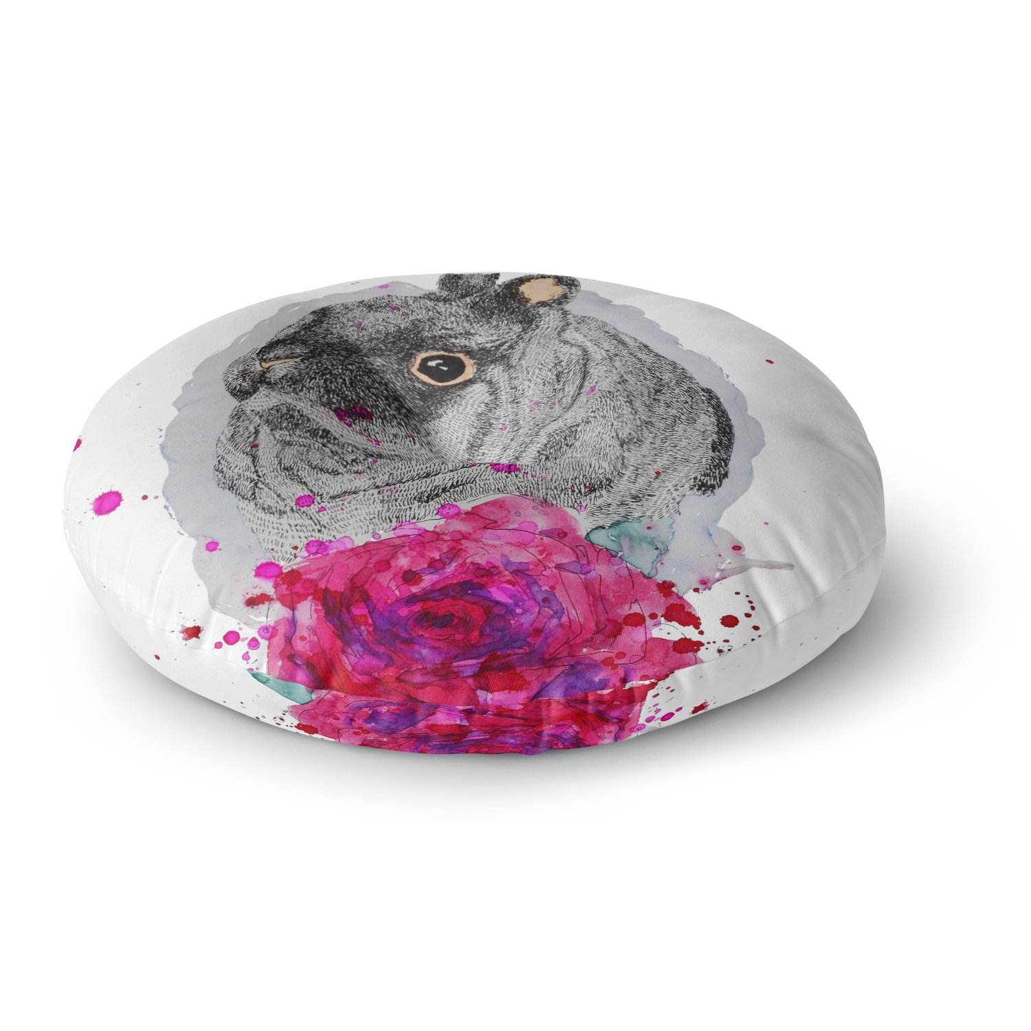 KESS InHouse Cecibd Bunnyrose Animals Painting Round Floor Pillow, 26''