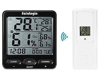 Sainlogic (R) Estación Meteorológica Inalámbrica, Termómetro Interior de Temperatura Exterior con Reloj Despertador