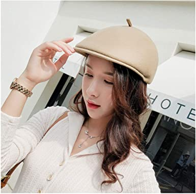 2019 Wool Casual Military Hats Womans Flat Top Hat Fashion Beret Faux Leather Visor Vintage