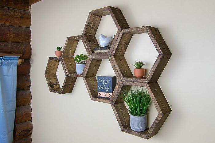 Amazon Com 3 5 Deep Hexagon Shelves Honeycomb Shelf Geometric
