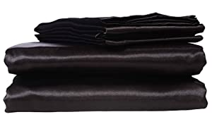 HONEYMOON HOME FASHIONS Ultra Luxury and Soft Satin Queen Bed Sheet Set - Black