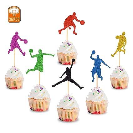 36 piezas de decoración para cupcakes de baloncesto de la ...
