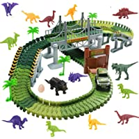 Harxin Pista Macchinine Elettriche Auto Veicoli con Dinosauro Pista Flessibile Giocattoli per Bambini 3 4 5 6 Anni (Piste da corsa)