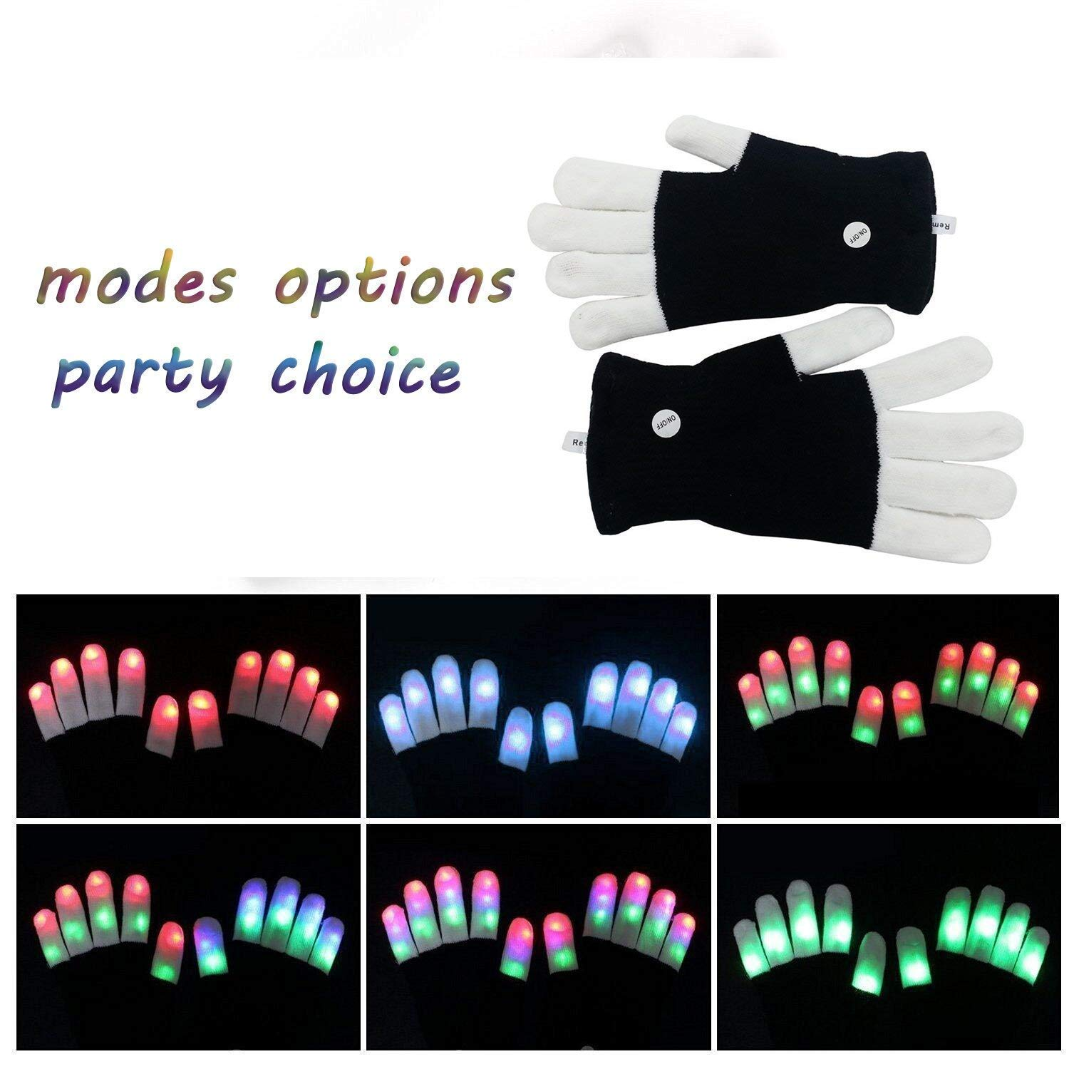 LSXD LED Gloves, Colorful Flashing Finger Light Adults'Gloves, 3colors 6modes Warm Gloves for Halloween, Christmas Birthday Party