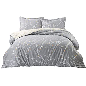 Bedsure Duvet Cover Set with Zipper Closure-Grey/Ivory Printed Pattern,Full/Queen (90x90 inches)-3 Pieces (1 Duvet Cover + 2 Pillow Shams)-110 GSM Ultra Soft Hypoallergenic Microfiber