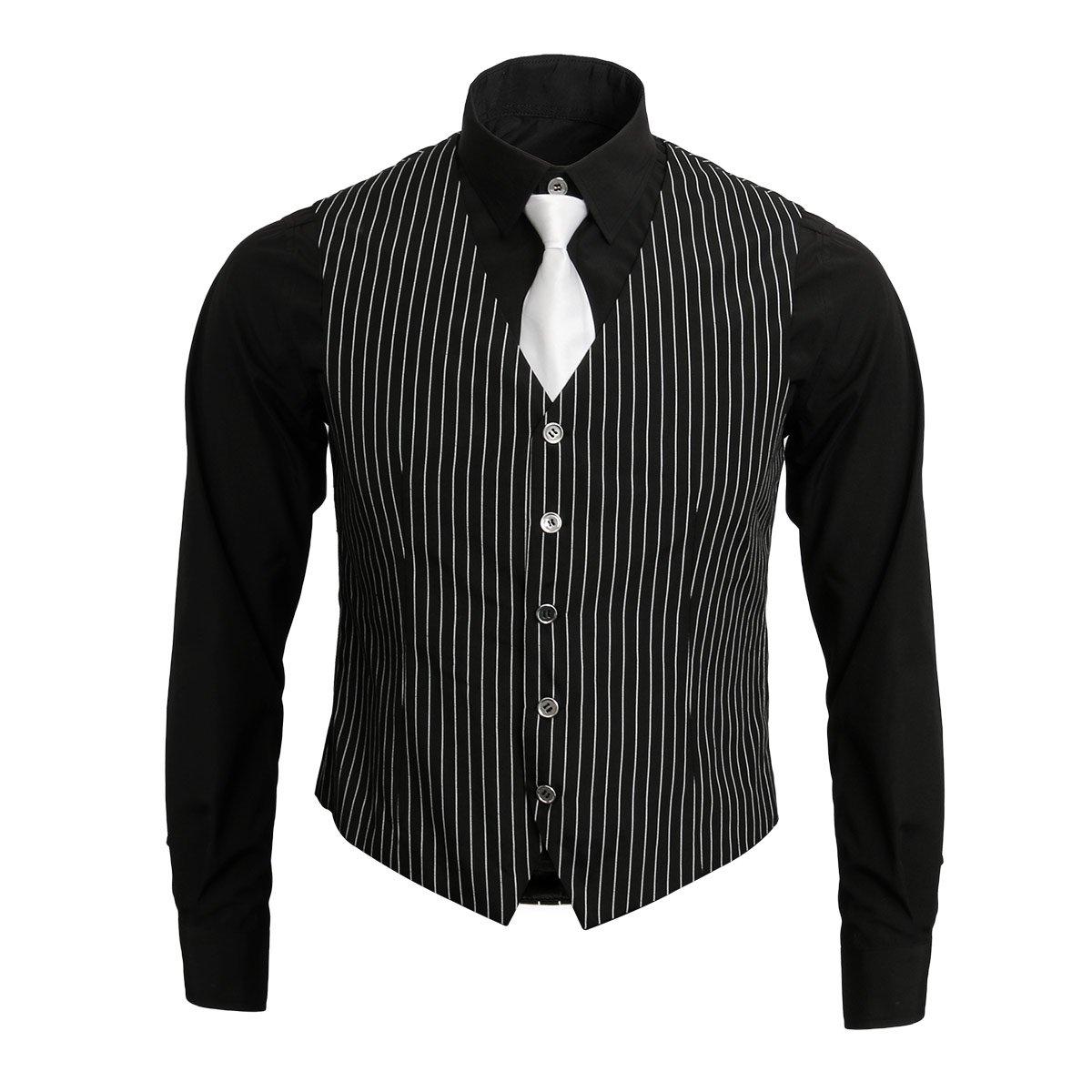1920s Adult Men's Gangster Shirt, Vest and Tie Costume Accessories Set Roaring 20s Fancy Dress up Outfit Suit (X-Large)