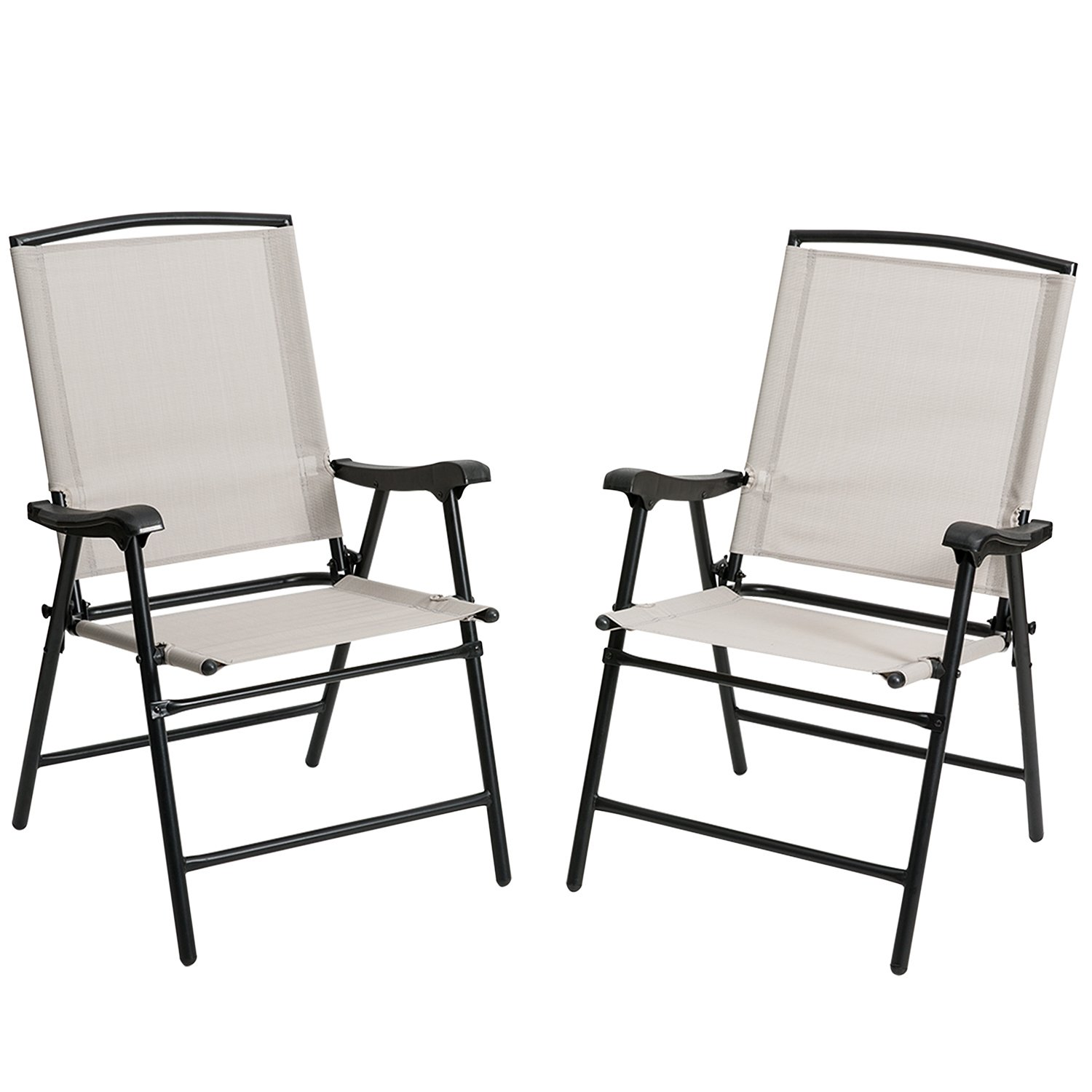 ARTALL Foldable Fabric Outdoor/Indoor Sling Chair, Portable Patio Balcony Leisure Dining Large Chair, Set of 2, Beige