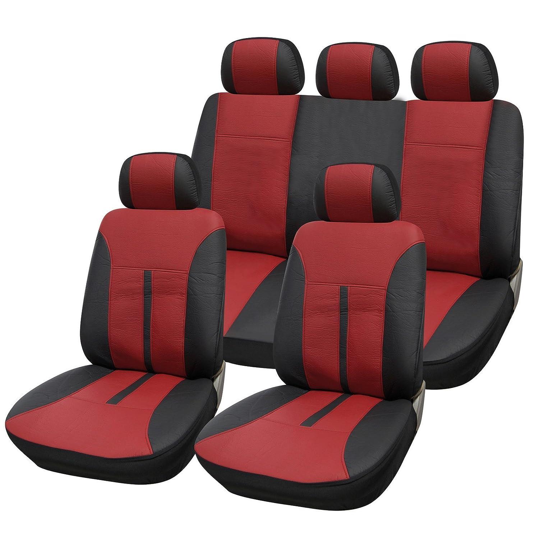 SITU universal Auto Schonbezug Komplettset Sitzbezü ge fü r Auto aus Kunstleder schwarz/rot SCSC0085