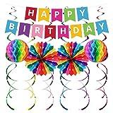 UNIIDECO Colorful Happy Birthday Decoration Kit, Including Rainbow Pom Poms, Banner, Swirls, Bday Decor for Men Women Kids Bo