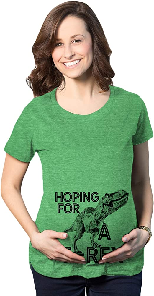 Maternity Hoping For A T-Rex Pregnancy T-Shirt Cute Funny Dinosaur Tee For Mom