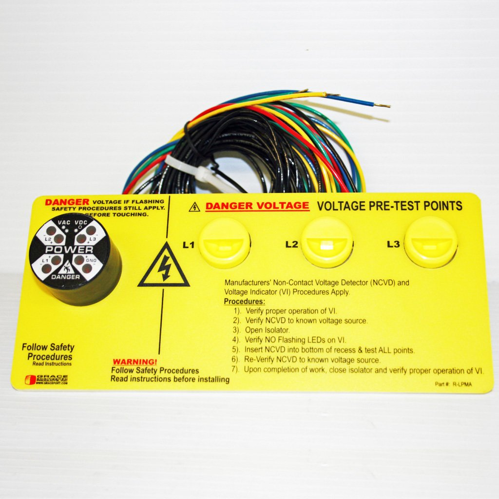 Permanent Electrical Safety Device (PESD): Flashing Voltage Indicator and Non-Contact Voltage Portals - Horizontal Configuration