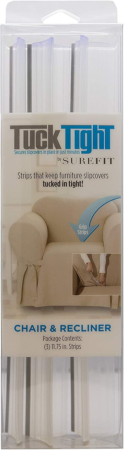 SureFit Tuck Tight for Chair and Recliner Slipcovers Couch Cover Holder with Grip Strips, 11.75, Clear