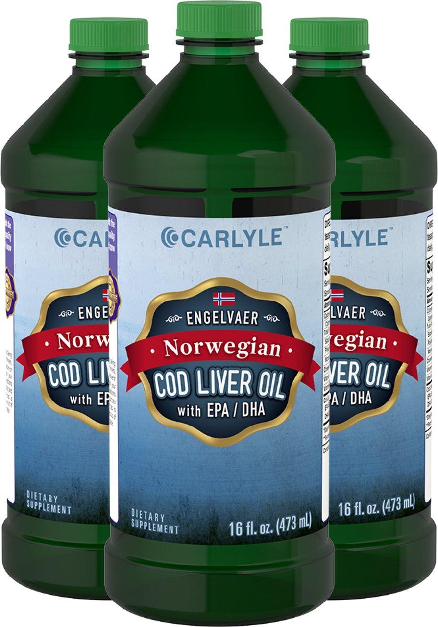Carlyle Cod Liver Oil Liquid 16 fl oz, 3 Bottles