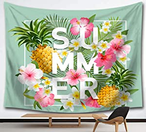 HMWR Summer Tropical Scenery Tapestry Wall Hanging Hawaii Palm Leaves Cotton Mandala Hippie Tapestry Yellow Pineapple Flowers Collage Dorm Beach Throw Wall Decor 60x80 Inches,Green