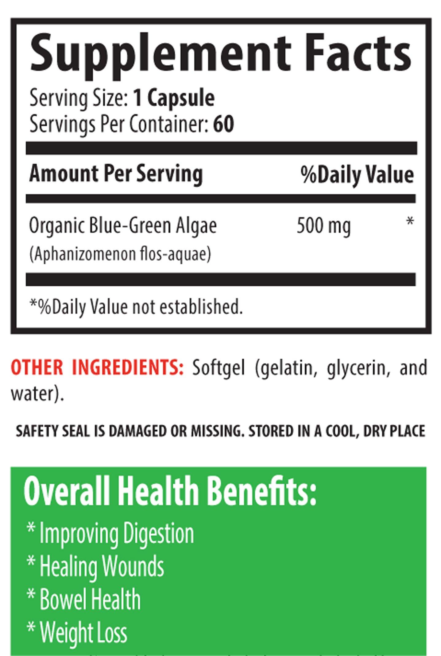 Premium Immune System and Energy Level Natural Antioxidant - Klamath Blue Green Algae 500mg (6 Bottles 360 Capsules)