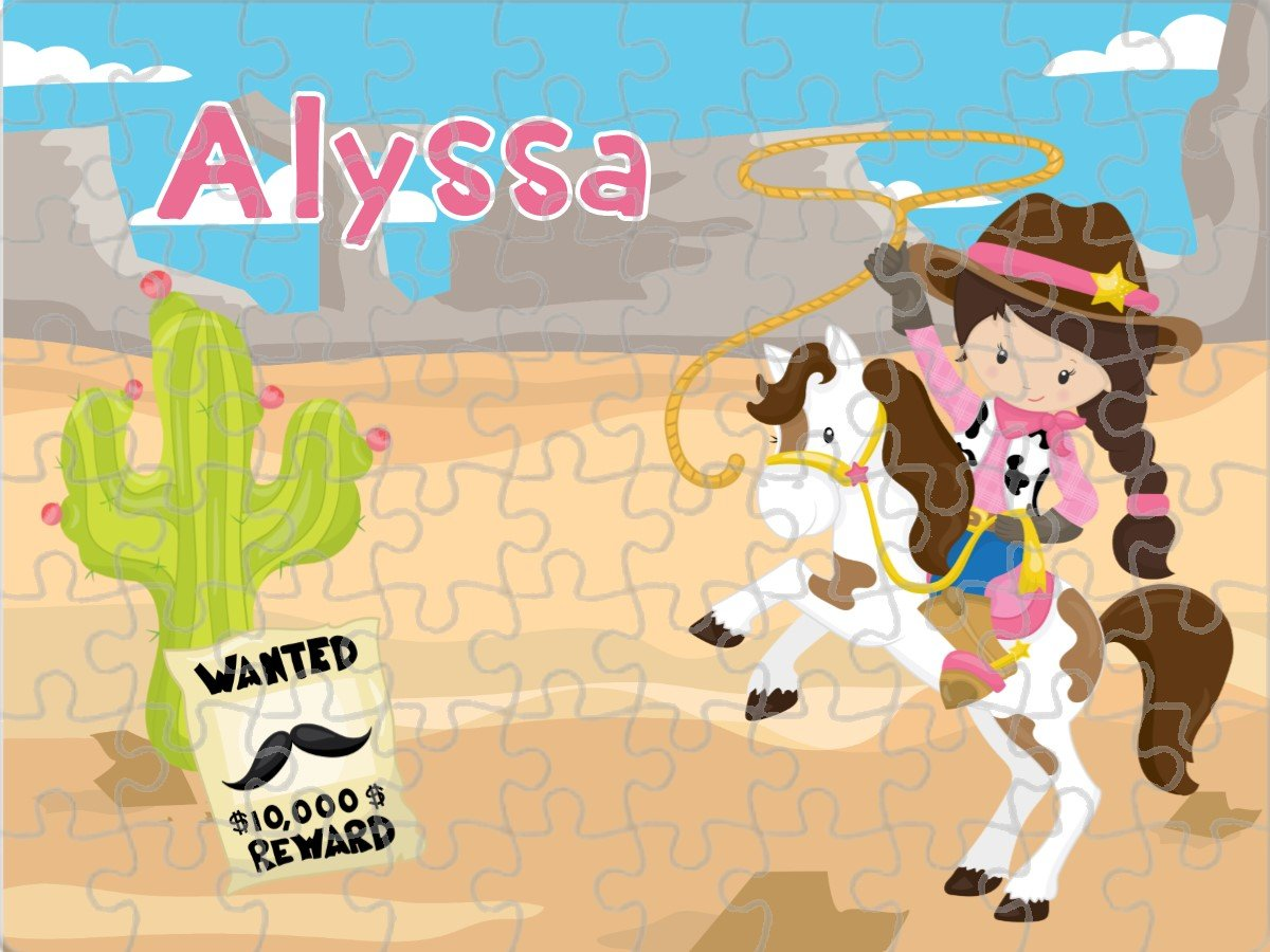 Personalized Cowgirl Wild West Jigsaw Puzzle. Choose Your Hair Color! 80 Pieces. Perfect Gift or Party Favor!