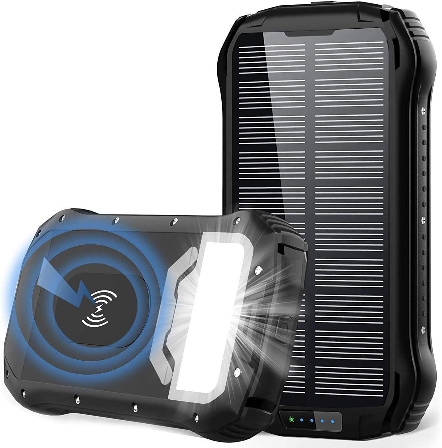 Powerbank Solar 26800mah Qi Wireless Solar Ladegerät Elektronik