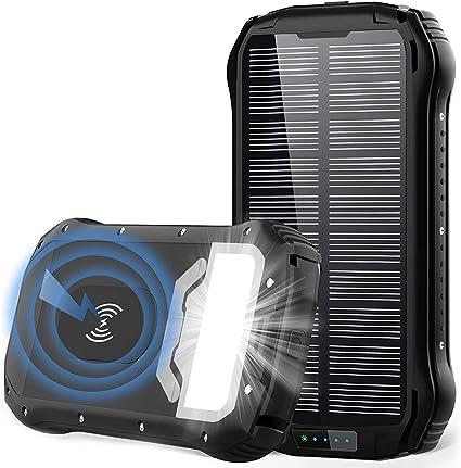 Powerbank Solar 26800 Mah Qi Wireless Solar Charger Elektronik