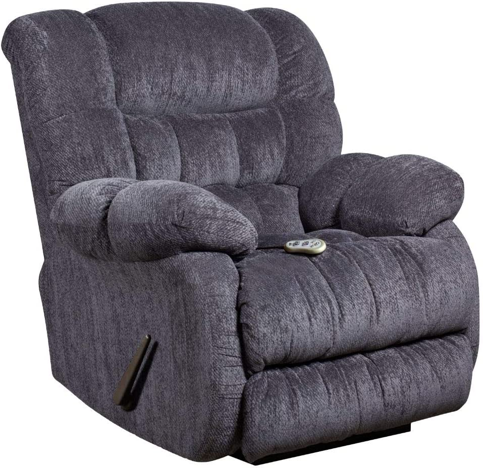 Flash Furniture Massaging Columbia Indigo Blue Microfiber Rocker Recliner with Heat Control