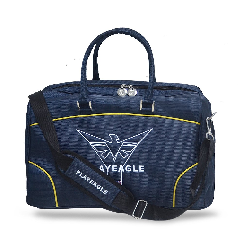 PLAYEAGLE Deep Blue Deluxe Nylon Waterproof and Multifunctional Golf Boston Bag with Shose Pocket,Travel Duffle Bag