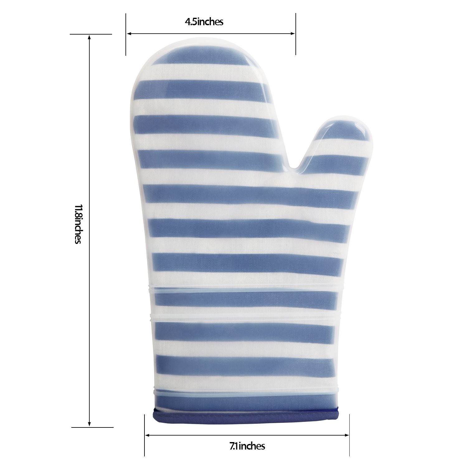 ANSMORE Oven Mitts, Heat Resistant to 572℉ and Waterproof, with Transparent Clear Silicone Shell and Nice Stripe Printing Cotton lining-Set of 2 (Blue) by ANSMORE (Image #2)