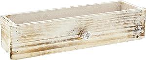 "Lucky Winner Decorative Whitewash Wooden Cabinet Drawer Planter Box, 13"""