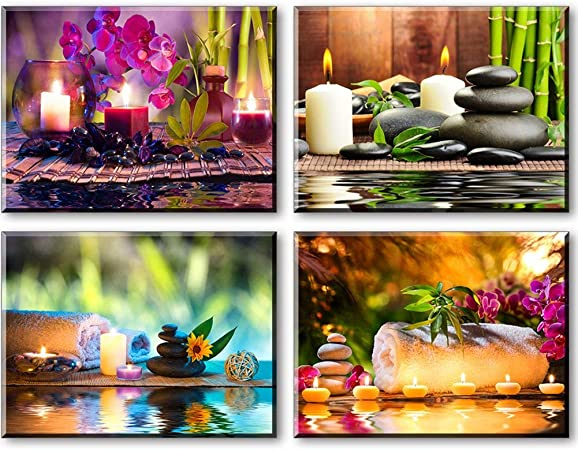 Bamboo Wall Decor Print Meditation Yoga Artwork Sunset landscape wall art Vertical poster Relaxing Painting Wall Art Print Spa Decor