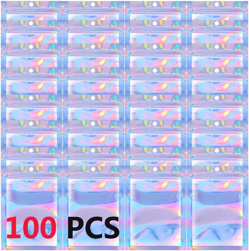 100 Pieces Resealable Smell Proof Bags ,Mylar Ziplock Bags for Food Storage,Aluminum Foil Pouch Holographic Bags packaging for Candy,Lip Gloss (4x6 inch)