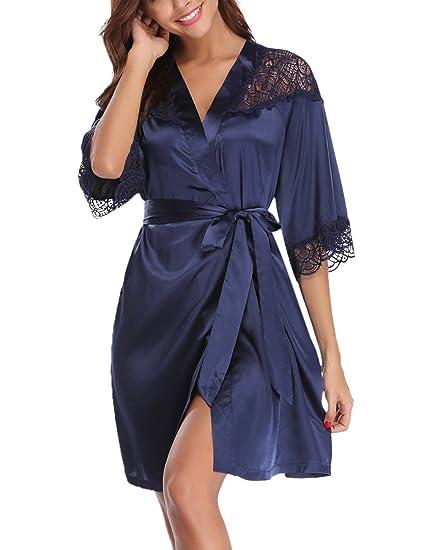 cce7c7f6f22 Aibrou Peignoir Satin Robe de Chambre Kimono Femme Sortie de Bain Nuisette  Déshabillé Vêtements de Nuit