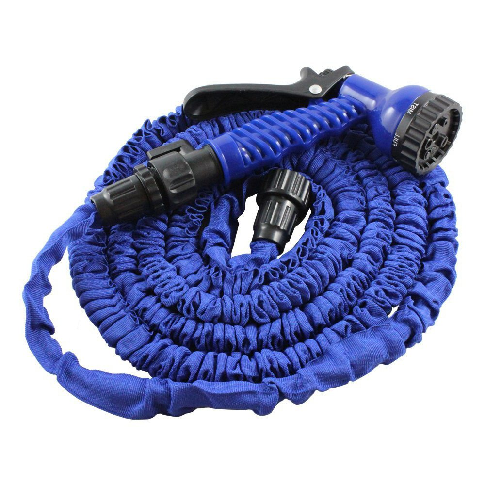 25ft Garden Flexible Hose Lightweight Retractable Expandable 3 Times 7-way Function Multi-pattern Spray Nozzle Gun Ultralight Blue