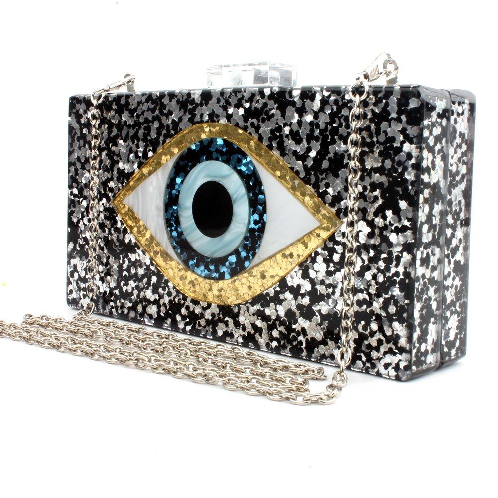 Black Acrylic Clutch Bags Glitter Purse Perspex Bag Handbags for Women (BLACK)