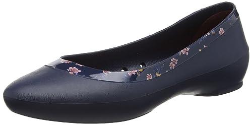 Lina Shiny Graphic Flat, Mujer Zapato Plano, Azul (Navy/Floral), 39-40 EU Crocs