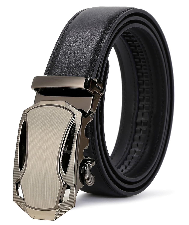 ITIEZY Ratchet Automatic Buckle (Sliding Buckle) Leather Belt Strap for Men