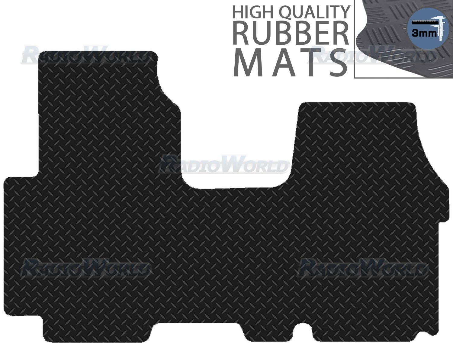 Black Floor Rubber Tailored Van Mat 3mm 1pc Set Carsio