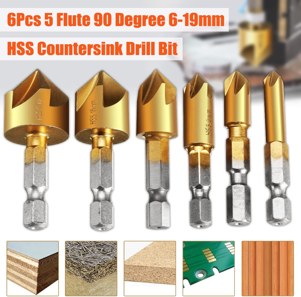 Color : Gold Basic Cellphone Cases CZMY 5Pcs//Set Industrial Countersink Drill Bit Tri-Flat Shank Quick Change Kit Tool Drill Bits