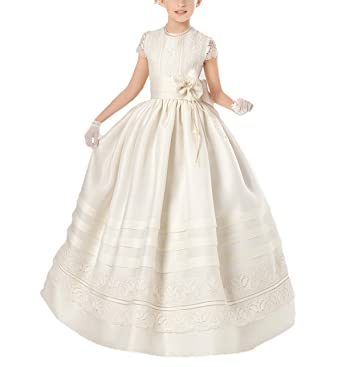 10b1c0ff1 Amazon.com  Dreamdress Girl s Lace Sash First Communion Dress Flower ...