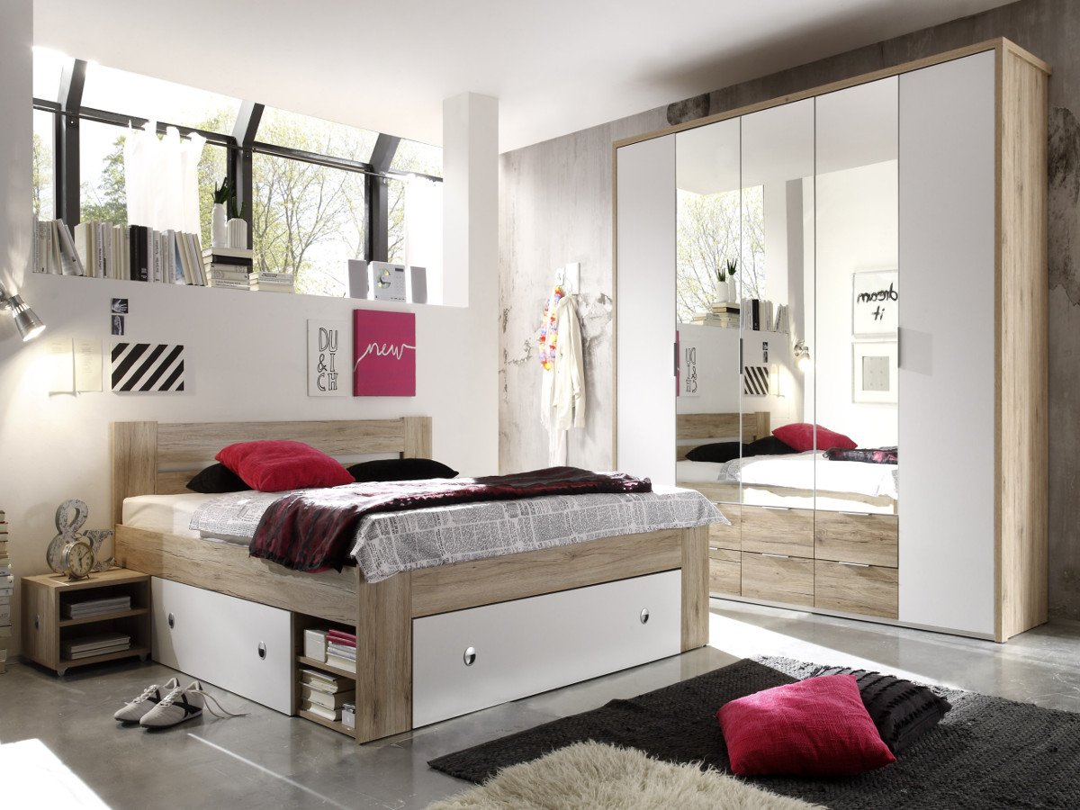 CONNY Komplett-Schlafzimmer Eiche San Remo/weiss, 140 x 200 ...