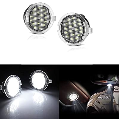 PGONE 2PC Full LED Side Under-Mirror Puddle Light Lamp Assembly Replacement For Ford F-150 Expedition Explorer Edge Flex Fusion Taurus X Lincoln Mercury, (White): Automotive [5Bkhe0400543]
