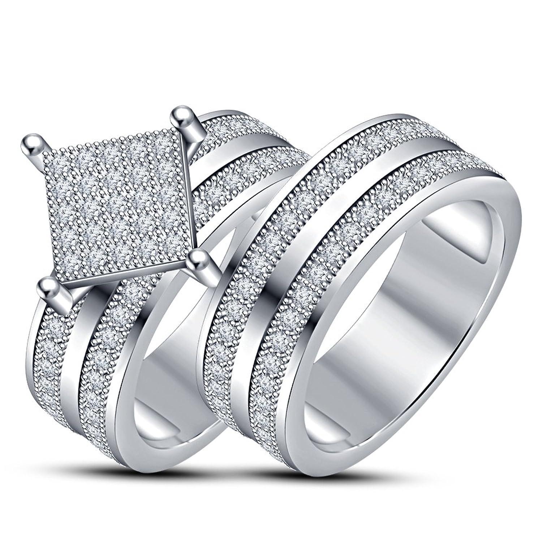 a5e4840b68eb Lilu Jewels - Juego de anillos de compromiso de plata de ley 925 con  circonita cúbica