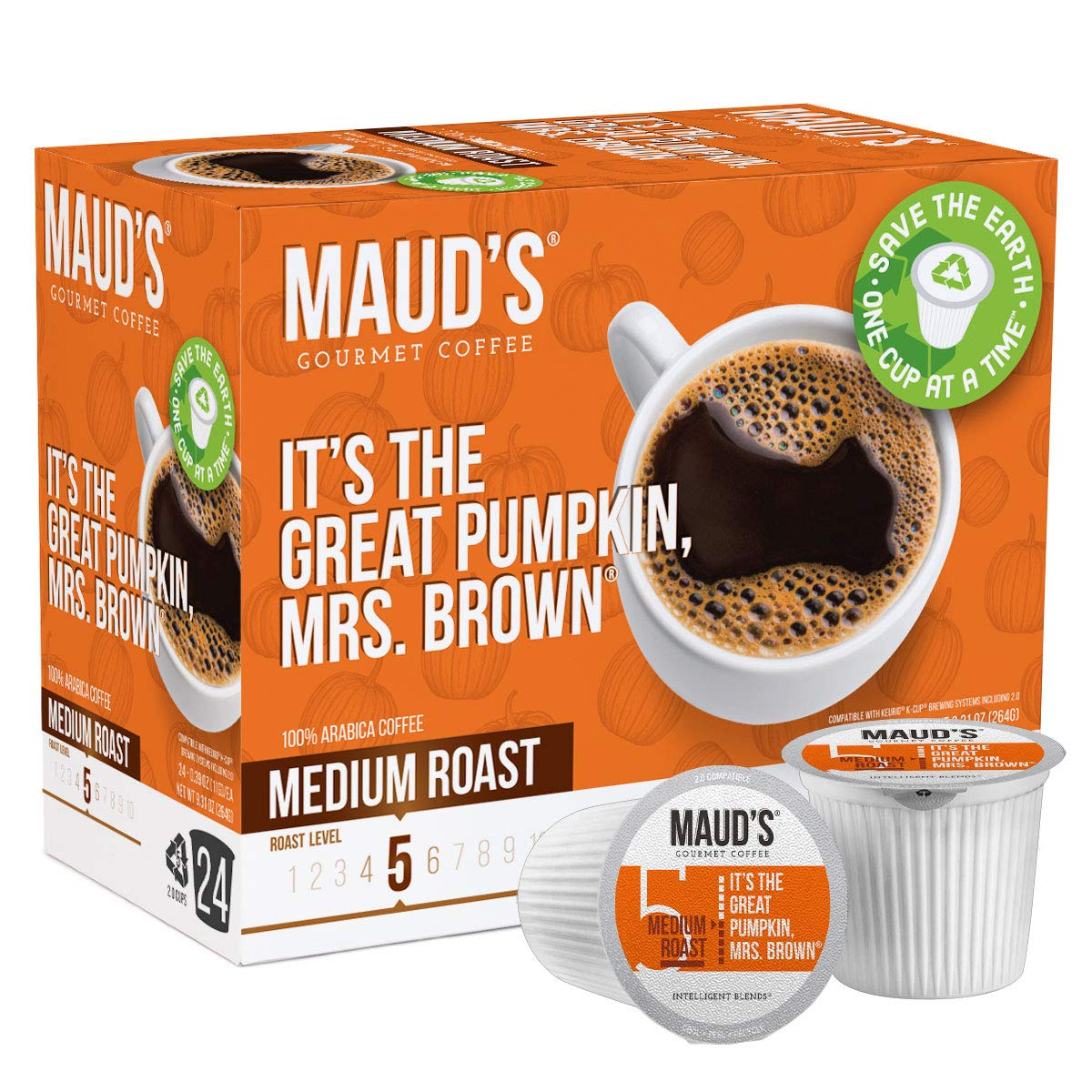Maud's Pumpkin Spice Coffee (Great Pumpkin Mrs. Brown), 24ct. Solar Energy Produced Recyclable Single Serve Pumpkin Spice Flavored Coffee Pods – 100% Arabica Coffee California Roasted, KCup Compatible