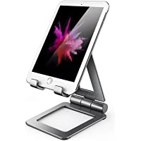Hi-Tech Wireless iPad Stand for Tablet Holders Adjustable iPhone Mobile Cell Phone Desk Stands (A-Gray)