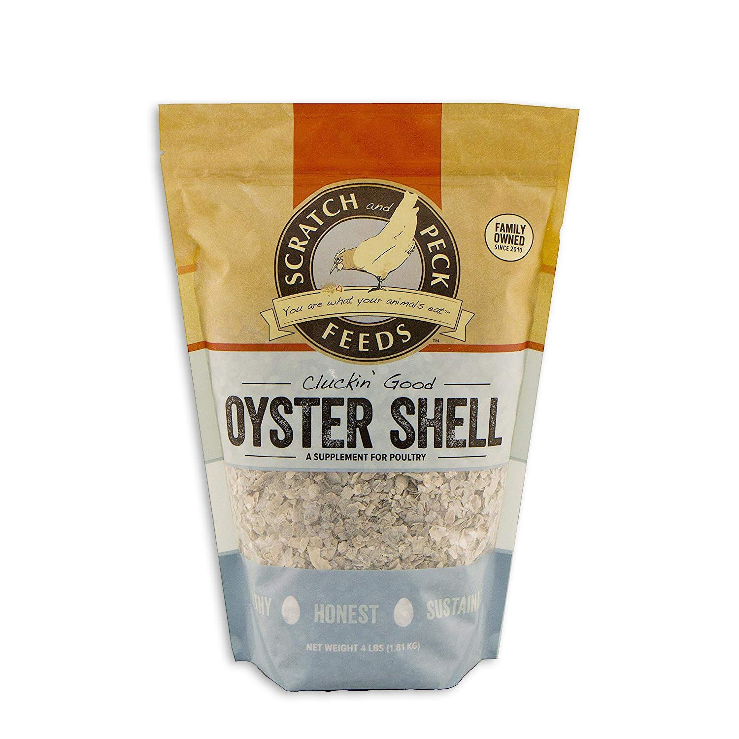 Scratch and Peck Feeds - Cluckin' Good Oyster Shell Supplement for Chickens and Ducks - Flaked - 4-lbs by SCRATCH AND PECK FEEDS YOU ARE WHAT YOUR ANIMALS EAT