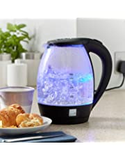 Taylor & Brown Blue LED Illuminated 1.7L Electric Glass Kettle Cordless Portable Design