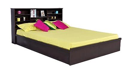 DeckUp Wood Matte Finish Dusun King Bed, 213x191x92cm (Dark Wenge)