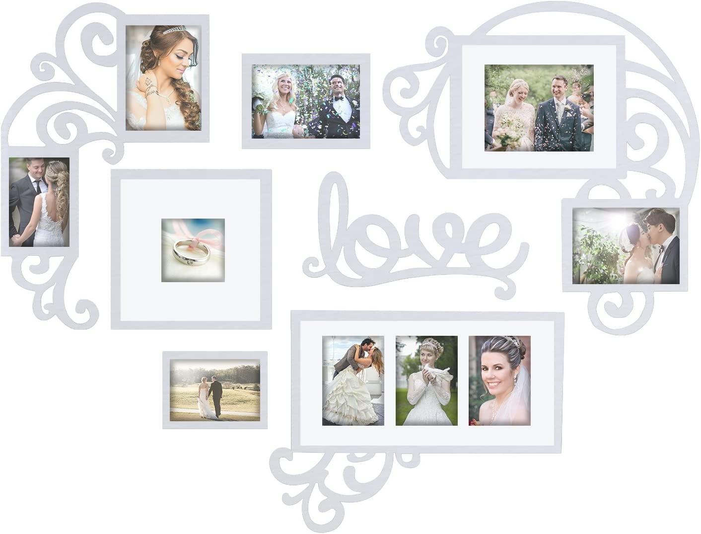 Jerry & Maggie - Photo Frame   Plaque College Frame - Valentine Wall Decoration Combination - White PVC Picture Frame Selfie Gallery Collage W Wall Hanging Mounting Design   Love Heart Shape