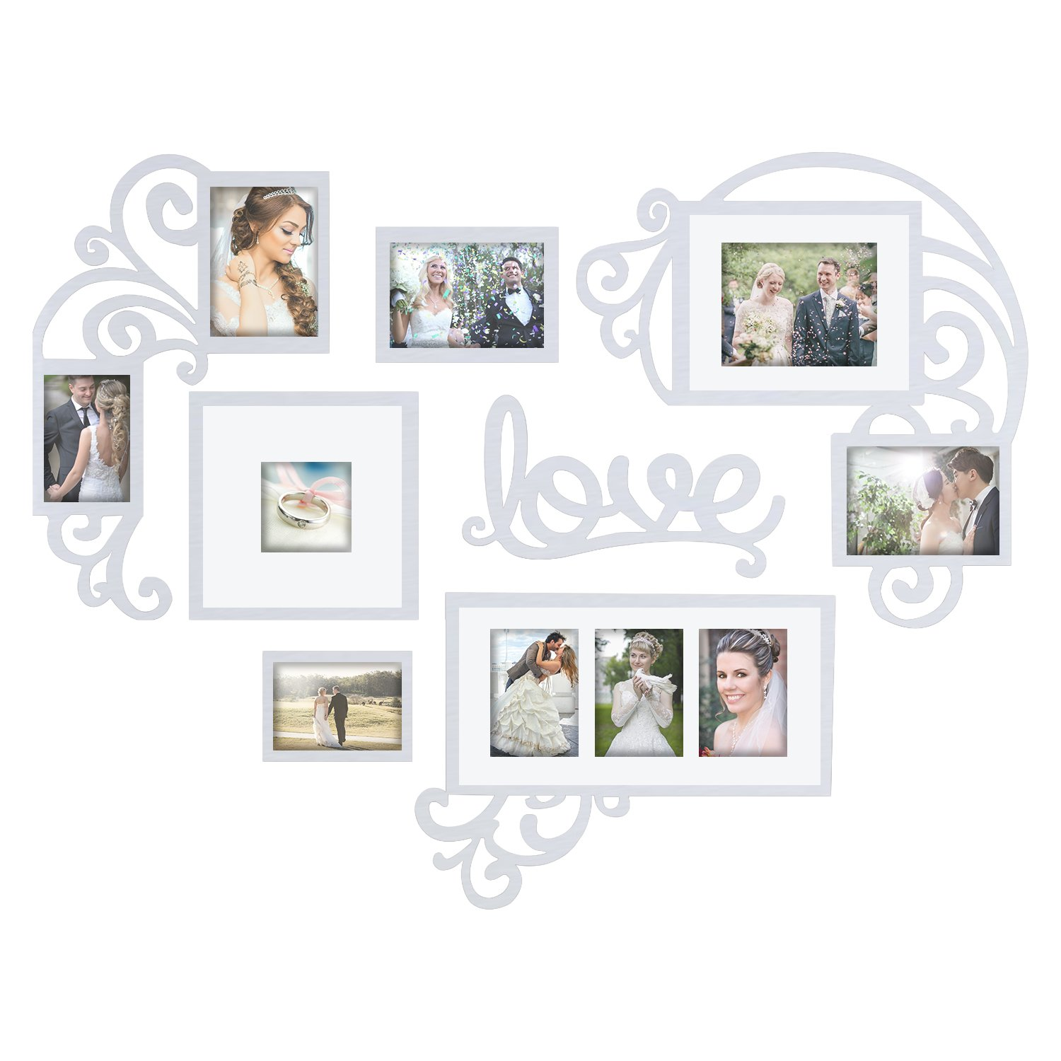 Jerry & Maggie - Photo Frame | Plaque College Frame - Valentine Wall Decoration Combination - White PVC Picture Frame Selfie Gallery Collage W Wall Hanging Mounting Design | Love Heart Shape